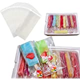 Wellood 200Pcs Popsicle Bags Ice Cream Bags Ice Pop Bags(Self-sticking)
