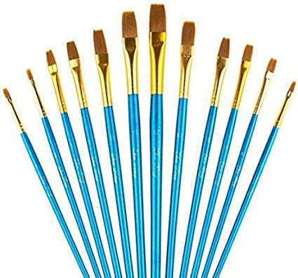 Blue Flat Paintbrush YXQSED-12 Pieces Paint Brush Set Quality Artist Paint Brushes Artist Brushes for Acrylic Oil Watercolor Gouache Face Painting