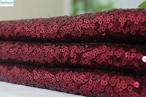 Sequin Fabric-by The Yard-Burgundy Sequin Fabric for Sequin Tablecloth, Sequin Table Runner, Sequin Backdrop Curtain Panels 1 Yard Wedding Sewing Fabric~603C ()