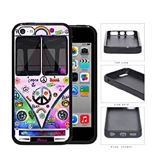 Hippy Mini Van Series V1 Hard Rubber Cell Phone Case Cover iPhone 5c (tie dye peace)