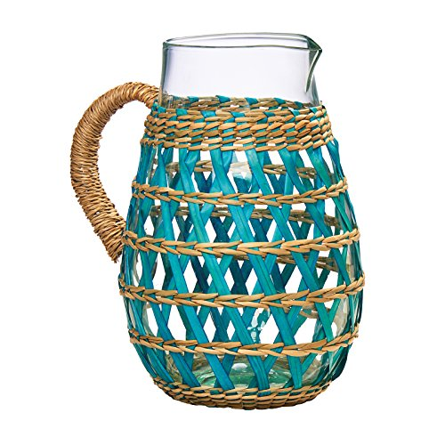 Amici Home, A7VA172R, La Bamba Collection Glass Pitcher, Blue Sea Grass Wrapped, Made in Vietnam, Aqua, 64 Ounces