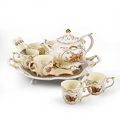 Panbado 14-Piece Ivory China Gold Rimmed Coffee Tea Set Hand Painted Flower Porcelain Tea Service with 10