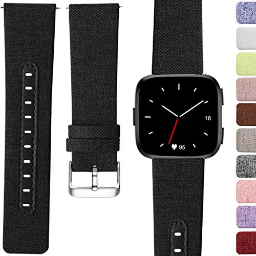 Maledan Compatible with Fitbit Versa Bands, Genuine Leather & Woven Fabric Breathable Watch Strap Replacement Wristband Accessories for Women Man, Large, Black