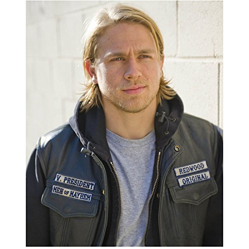 Sons of Anarchy (TV Series 2008 - 2014) 8 inch x 10 inch Photo Charlie Hunnum Black Leather Vest Over Black Hoodie Over Grey Tee Shirt kn