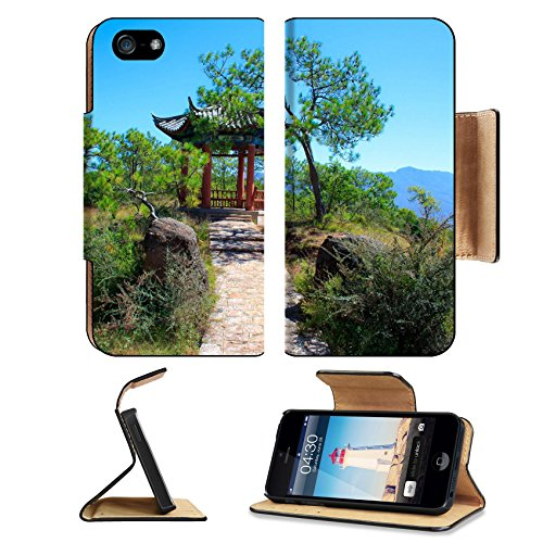 MSD Premium Apple iPhone 5 iphone 5S Flip Pu Leather Wallet Case iPhone5 Pavilion on the Hill Lijiang Yunnan China Image ID - Hills Chino Mobile T