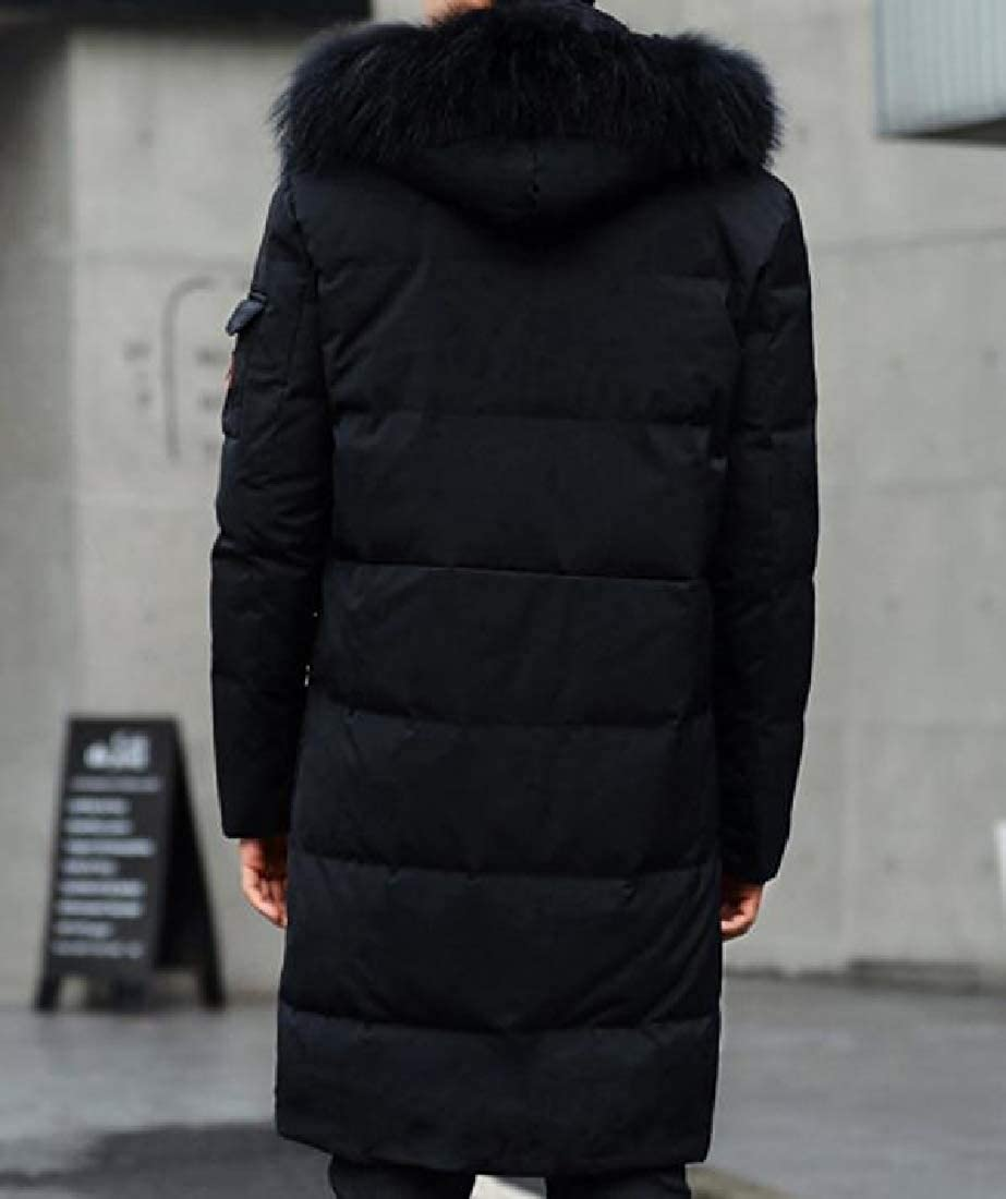YUNY Men Thicken Fur Collar Slim-Fit Mid-Long Warm Hoodie Coat Jacket Black XL