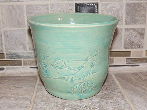 Vase, Bowl hand thrown one of a kind. Light Turquoise Glaze. Has bird etched in the front. Food and dishwasher safe. 5 x 6 wide. - Etched One Light