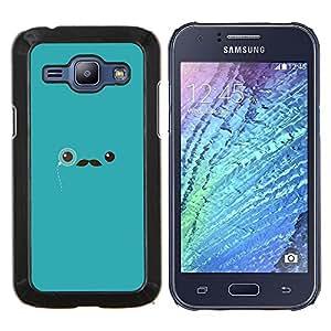 TECHCASE---Cubierta de la caja de protección para la piel dura ** Samsung Galaxy J1 J100 ** --bigote azul señor monóculo inconformista