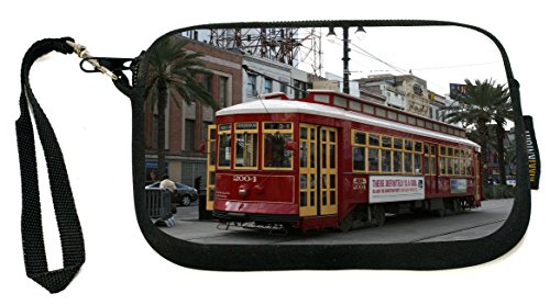 Rikki Knight New Orleans Trolley Bus   Neoprene Clutch Wristlet Coin Purse With Safety Closure   Ideal Case For Cosmetics Case  Camera Case  Cell Phones  Passport  Etc