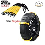 Snow Chain 10 Pcs Anti-Skid Chains Emergency Anti-Slip Tire Belting Straps Cable Traction Wire for Car/SUV Winter Tyres Wheels Aid Autocross Outdoor in Snow Ice Mud Situation (Regular size Anti-skid Snow Chain)