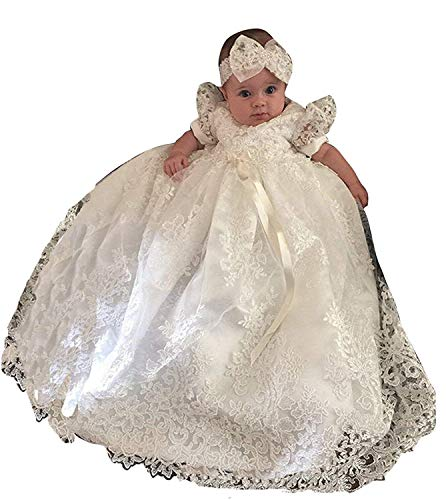 d02207444 ShineGown Baby Girls Christening Gowns Baptism Delicate Embroideried Dress  with Bonnet for 0-15 Months