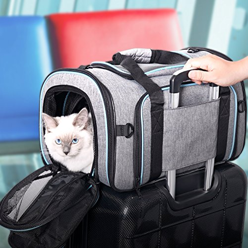 Airline Approved Pet Carrier Expanable- SUKI&SAMI Four Side EXpansion Oxford Portable Sofe-Sided Air Travel Bag for Small or Medium Dog and Cats by SUKI&SAMI (Image #6)