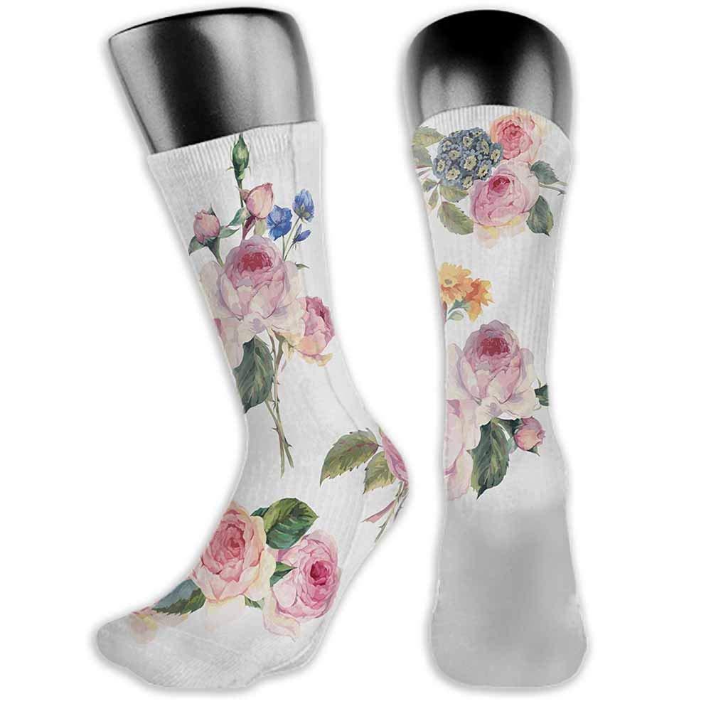 Happy Socks Rose,Soft Pastel Pattern Vintage Botanical Flourish Victorian Springtime Vegetation,Rose Pale Green,socks for men