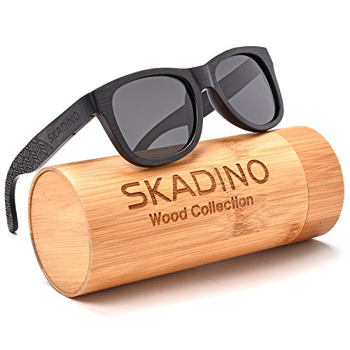 SKADINO Wayfarer Bamboo Sunglasses with Polarized lenses-Handmade Floating Wood Shades for - Sunglasses Polarized Floating