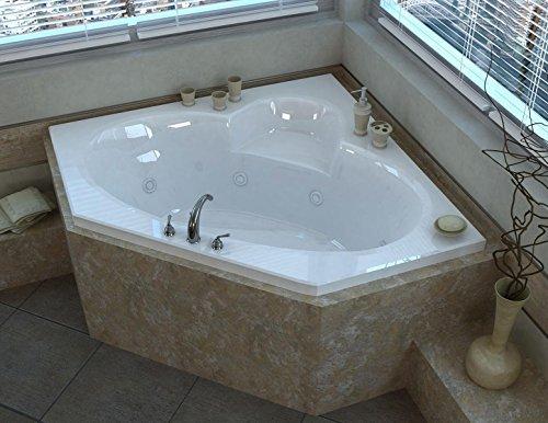 Corner Whirlpool Bath (Spa World Venzi Vz6060swr Ambra Corner Whirlpool Bathtub, 60x60, Center Drain, White)