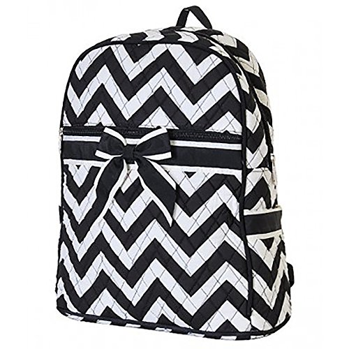 Personalized Large Quilted Chevron Zipped Backpack (Black-White)