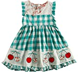 Sharequeen Girls Dress Hollow Design Cotton Grid Embroidery Sleeveless Summer Frocks Party Dresses (3-4 Years, Green) …