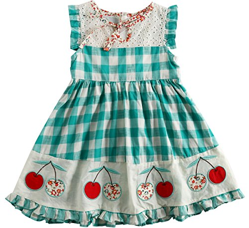 Sharequeen Girls Dress Hollow Design Cotton Grid Embroidery Sleeveless Summer Frocks Party Dresses (3-4 Years, Green) … by Sharequeen