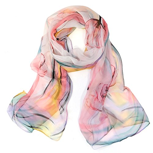 Wrapables Lightweight Sheer Silky Feeling Chiffon Scarf, Pink - Scarf Beautiful Floral