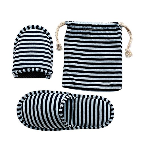 JIAHG Unisex Travel Hotel Slippers Ultra Soft Foldable Stripe House Slipper Non-Slip Washable Spa Bedroom Home Shoes Indoor Outdoor Blue by JIAHG (Image #2)