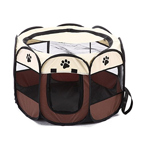 Labellevie Portable Mesh Shade Cover Pet Tent Pet Fence, Foldable Indoor Outdoor Pop-up Cat Dog Playpen Camping Tent for Puppy Kennel (Coffee)