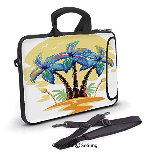 (10 inch Laptop Case,Cartoon Tropical Island with Hawaiian Palm Trees Torch Seagulls at Sunset Neoprene Laptop Shoulder Bag Sleeve Case with Handle and Carrying & External Side Pocket,for Netbook/MacBo)