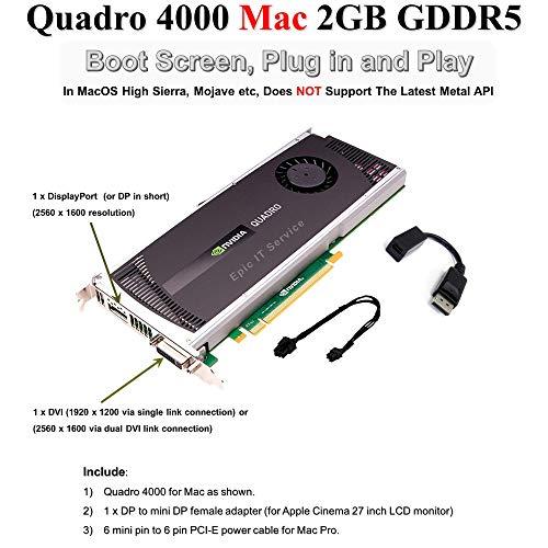 Epic IT Service - Quadro 4000 for Mac, for apple mac pro, 2GB GDDR5 PCI Express Gen 2 x16, DVI-I DL, DisplayPort, DirectX (Boot Camp), CUDA and OpenCL Profesional Board - OEM (Epic IT- OEM)