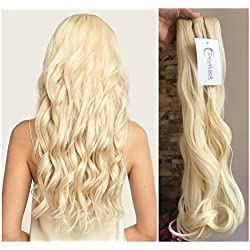 One Piece Wavy Curly Half Head Clip in Hair Extensions Solid Color DL (Platinum blonde)