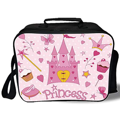 - Kids 3D Print Insulated Lunch Bag,Little Princess Tiara Slippers Fairy Castle Butterfly Heart Lollipop Wand Cupcake Girls Party Print Decorative,for Work/School/Picnic,