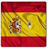 Rikki Knight 1686 Double Toggle Spain Flag Design Light Switch Plate