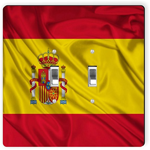 Rikki Knight 1686 Double Toggle Spain Flag Design Light Switch Plate by Rikki Knight