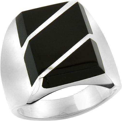Sizes 9-13 Sterling Silver Black Obsidian Ring for Men Rectangular Diagonal Stripes Solid Back Handmade