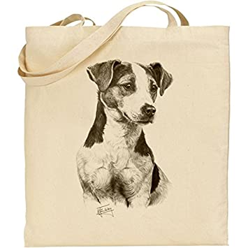 Jack Russell Dog Breed H Robinson reusable cotton shopping shoulder tote bag