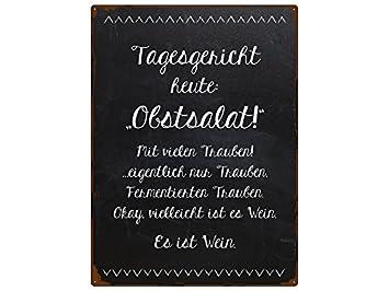 WANDSCHILD Metallschild TAGESGERICHT HEUTE OBSTSALAT Spruch Küche ...