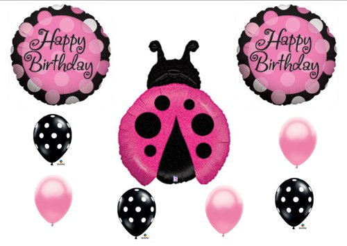 Ladybug Pink Black Magenta Happy Birthday Party Balloon Decorating Kit Set