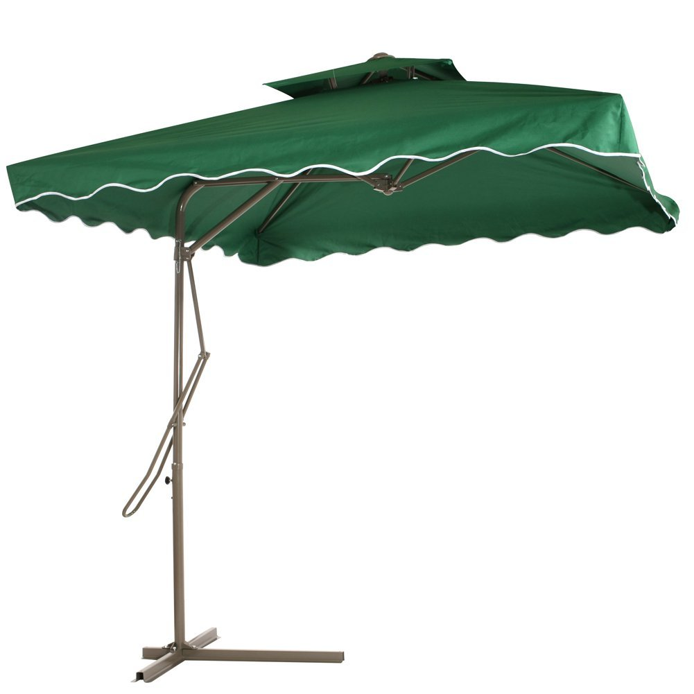 Reliancer Patio Umbrella,7.2 x 7.2 Square Offset Garden Umbrella,Multi-Role Outdoor Umbrellas Green