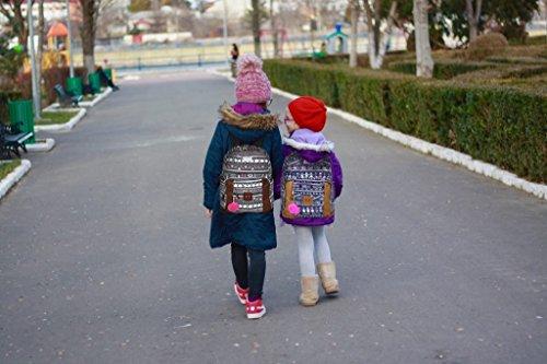 Emma & Chloe Girls Aztec Pom-Pom Vinyl-Base Cotton Backpack (One Size, Aztec Navy) by Trail maker (Image #7)