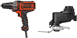 BLACK+DECKER Electric Drill, 3/8-Inch, 4-Amp with Oscillating Tool Attachment (BDEDMT & BDCMTO)