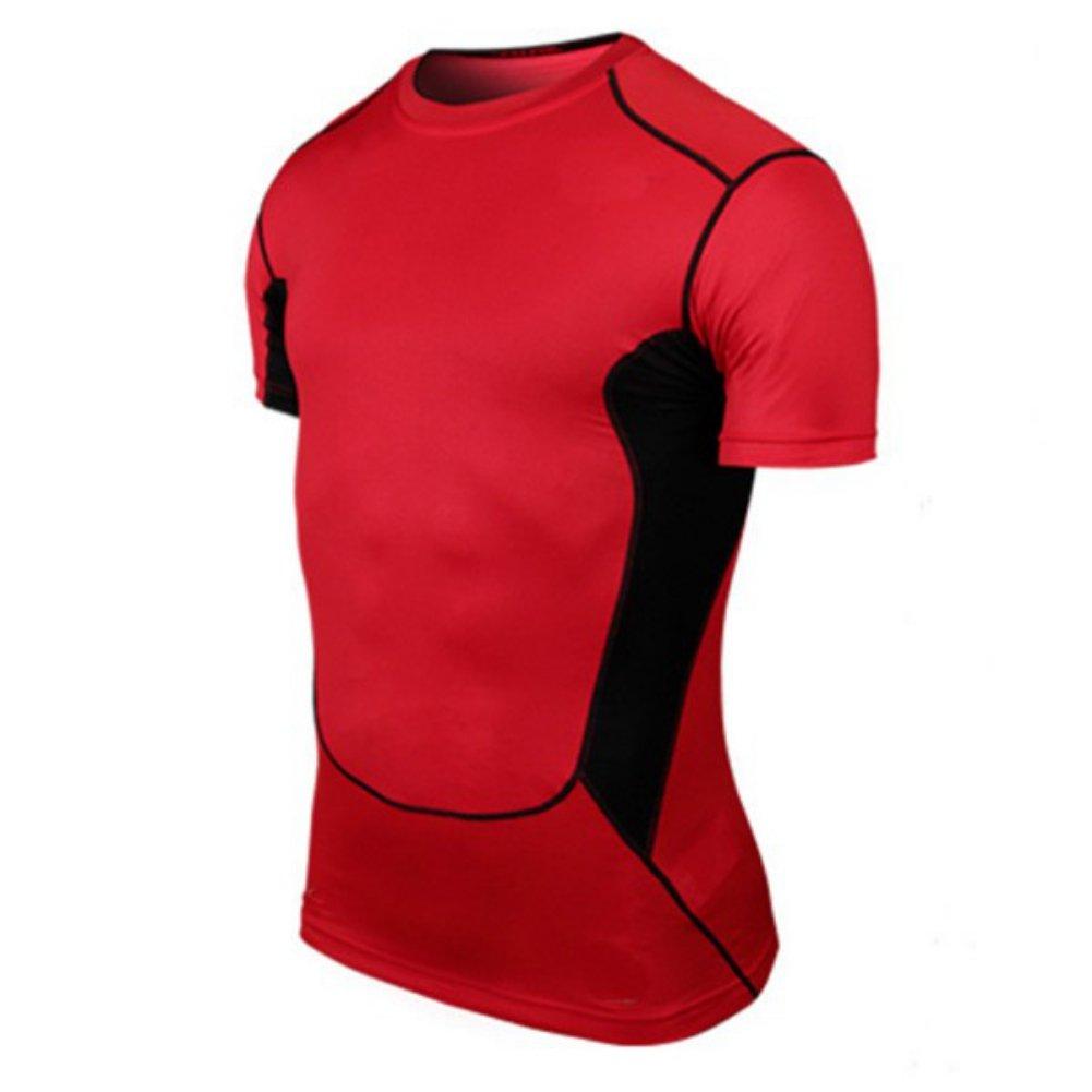 Jlong Men Short Sleeve Athletic Compression Under Base Layer Sport Tank Top