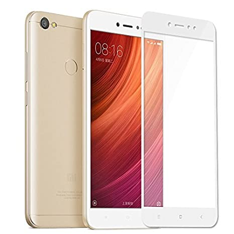 Mobile World Tempered Glass Screen Protector with Full Coverage for Redmi Mi Y1 Lite  White  Screen guards
