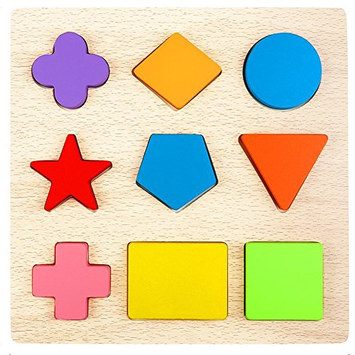 (Lewo Wooden Preschool Shape Puzzles Geometric Sorting Games Early Development Educational Toys for Toddlers Boys Girls (Shapes Puzzle))
