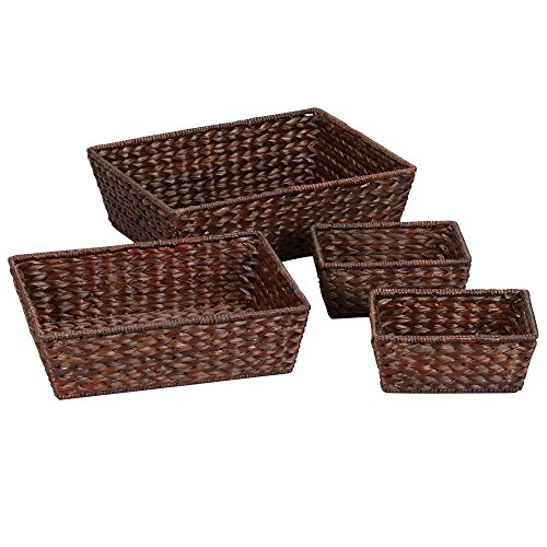 Household Essentials ML-6695B Set of 4 Wicker Storage Baskets, Dark Brown
