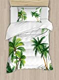 Ambesonne Tropical Duvet Cover Set Twin Size, Coconut Palm Tree Nature Paradise Plants Foliage Leaves Digital Illustration, Decorative 2 Piece Bedding Set with 1 Pillow Sham, Hunter Green