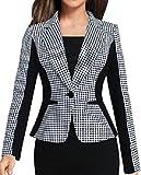 ARRIVE GUIDE Womens Plaid One Button Notch Lapel Business Blazer Jackets Black White Small