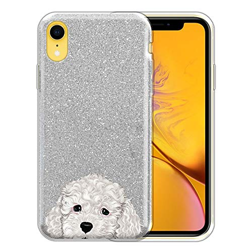 FINCIBO Case Compatible with Apple iPhone XR 6.1 inch, Shiny Sparkling Silver Bling Glitter TPU Protector Cover Case for iPhone XR - White Toy Poodle Puppy ()