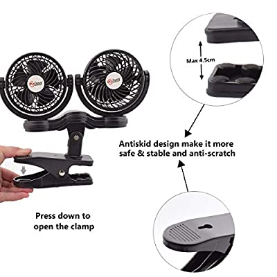 TN TONNY Dual Head Clip Fan, 4 Inches Electric Car Clip Fans 360° Rotatable,12V Cooling Air Fan with Stepless Speed Regulation for Vehicle or Home: Kitchen & Dining