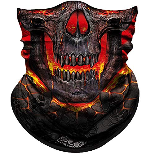 Obacle Skull Face Mask Half Sun Dust Protection, Seamless Tube Mask, Durable Face Mask Bandana Skeleton Face Shield Motorcycle Fishing Hunting Cycling Riding Festival Many ()
