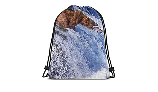 Jiger Drawstring Tote Bag Gym Bags Storage Backpack, Grizzly ...