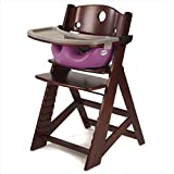 Keekaroo Height Right Highchair with Insert & Tray - Raspberry - Mahogany Base