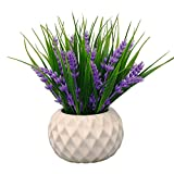 small flower arrangements VGIA Modern Artificial Potted Plant for Home Decor Lavender Flowers and Grass Arrangements Tabletop Decoration